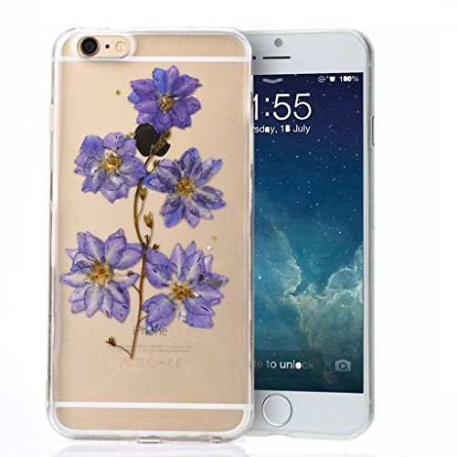 iPhone 6s Plus Case, iPhone 6 Plus Case, TabPow Scenic Floral Series - [Minimalistic][Slim Fit] Clear Soft Plastic Case Cover For iPhone 6S Plus/ 6 Plus (5.5 Inch), Purple Lotus Flower
