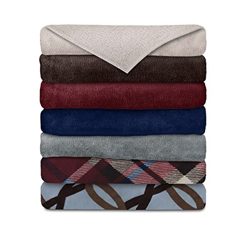 Sunbeam Micro Plush Heated Electric Throw Blanket, Assorted Colors and Patterns