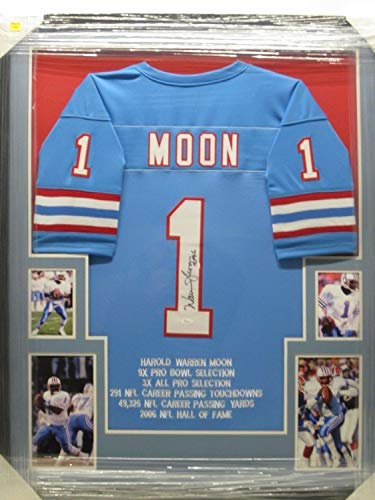 - Warren Moon Autographed Signed Autograph Hof Inscription Houston Oilers Jersey Framed W Photos JSA Authentic Certificate