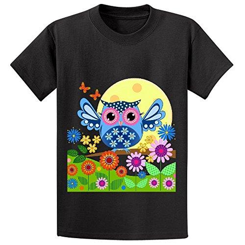 snowl-spring-owl-in-a-flower-garden-boys-crew-neck-print-tees-black