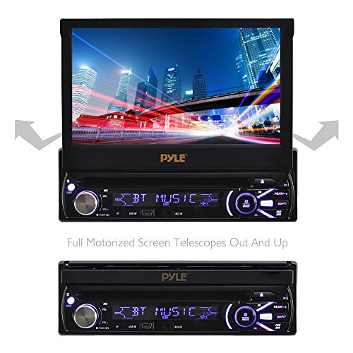 Premium 7In Single-DIN Car Stereo Receiver With Bluetooth - In-Dash Motorized Touchscreen TFT/LCD Display with AM- FM Radio and Multimedia CD / DVD / MP3 / SD / USB & More by Pyle (Image #3)