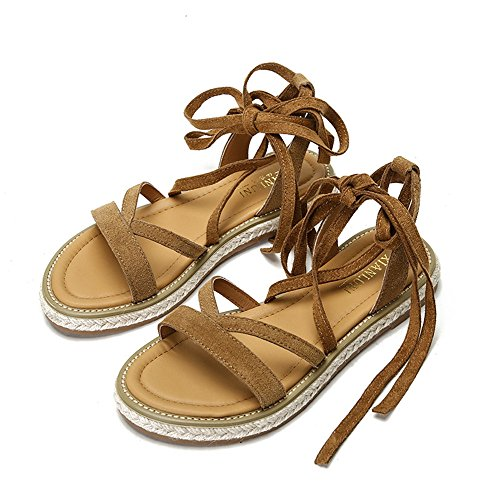 Strappy Leather X Lace Gladiator Women Flat for Tan up Sandals Y M Shoes Suede n6fSxYqp