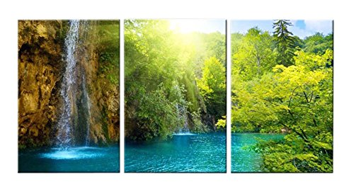 Ceiling Medallions Fine Art (Very artistic Canvas Print Wall Art Painting Home Decor Waterfall Dawn Sunrise Blue Lake Green Trees Golden Sun Rays Through Forest 3 Pieces Panel Paintings Modern Giclee Stretched Framed Artwork)