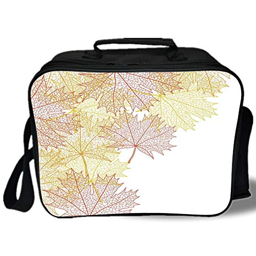 Insulated Lunch Bag,Leaves,Pattern with Maple Tree Fall Leaves Skeleton Dried Golden Forms Halloween Decoration Decorative,Red Yellow,for Work/School/Picnic, Grey ()