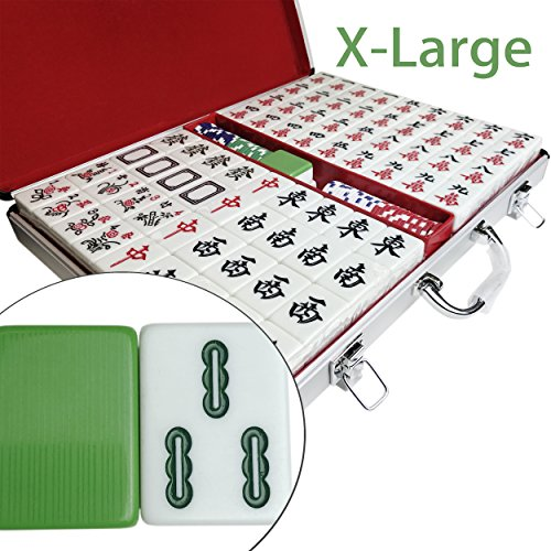 Professional Chinese Mahjong Set, 144 Tiles 1-5/8'' X-Large Easy-To-Read, Green Melamine Texture, 146 Tiles, 4 Dices, 60 Chips in Aluminum Case by YW Creating