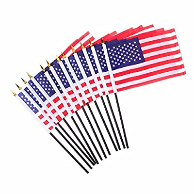 BESTOYARD American Hand Flags USA Stick Flags United States National Day Supplies Independence Day Signs 12pcs: Toys & Games