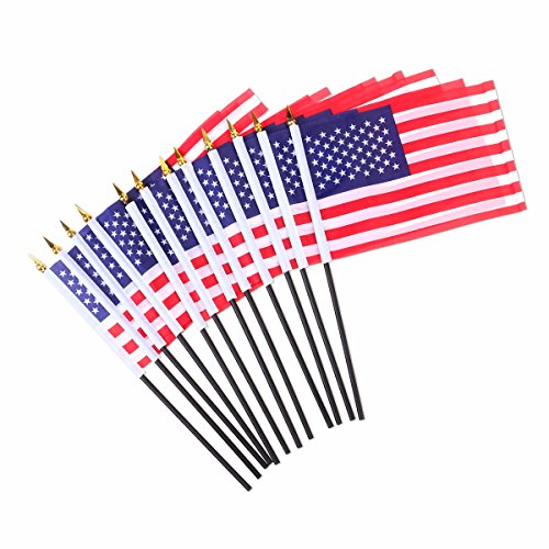 LUOEM 12pcs 4th of July Independence Day Waving Flag USA Flags for Party Supplies