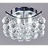 New Galaxy Lighting 4-light Chrome Finish Crystals Chandelier, Square or Diamond Shape Flush Mount Ceiling light W8""
