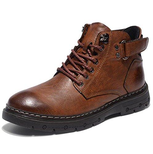 Stiefel Männer Mode Leder Stiefel Herbst Und Winter Freizeitschuhe Redbrown