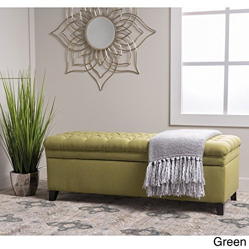 Home Modern Hastings Tufted Fabric Rectangular Storage Ottoman Bench Green