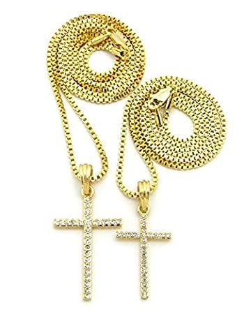 Iced Out Double Cross Pendant 18