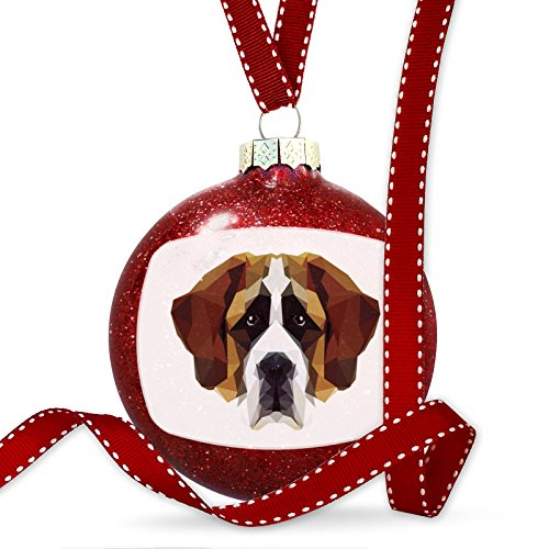 Christmas Decoration Geometric Animal art St. Bernard Dog Ornament by NEONBLOND