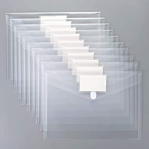 24 Pack Plastic Envelopes Poly Envelopes, Sooez Clear Document Folders US Letter A4 Size File Envelopes with Label Pocket for School Home Work Office Organization, Clear