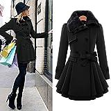 Qingfan Elegant Women Autumn Warm Long Sleeve Oversized Loose Cardigan Tops Outwear Cloak Coat (XL, Black)