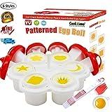 Patterned Egg Cooker&Mold,Hard Boiled Egg Maker Without the Shell,6 Shapes Yolk Mold Microwave Egg Cooker-Egg Holder,Egg Separator,Oil&Cleaner Brush and Instruction Book Included(2018 Upgrade Version)