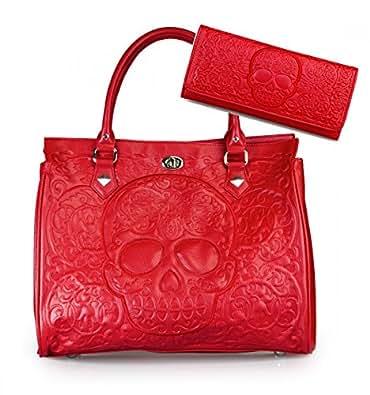 Red on Red Lattice Sugar Skull Embossed Handbag & Wallet SET