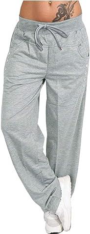 JULYKI Womens Wide Leg Lounge Pants, Drawstring Pocket Solid Stretchy Comfy Sports Yoga Palazzo Pants
