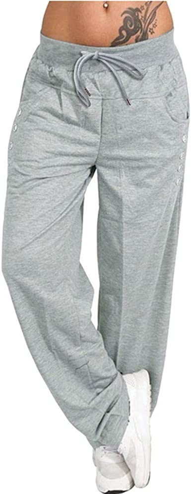 Overdose Pantalones Deportivos De Moda Popular Comodo Flojo Pantalones De Yoga Para Mujer Delgados Pantalon Deportivos Gris Mujer Pantalon Jogger Elasticos Amazon Es Ropa Y Accesorios