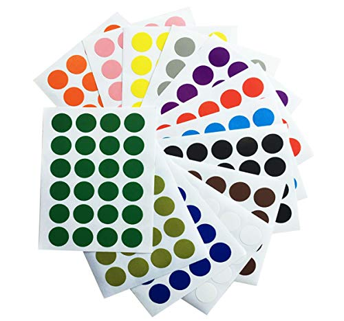 (5/8'' Round Color-Coding Dot Labels Strong Adhesive Circle Stickers Universal Decal Stationery for Inventory Classroom Office Kids Gifts Décor 13 Different Colors 65 Sheets 1560PCS)
