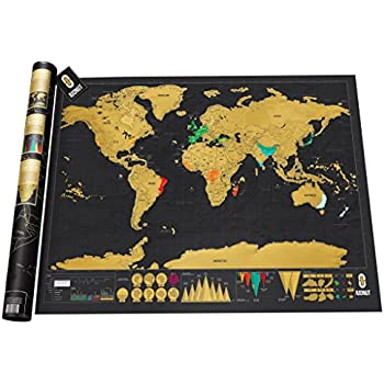 Scratch off map of the world - World travel deluxe scratch off travel map + Gift Tube Packing - IUONUT