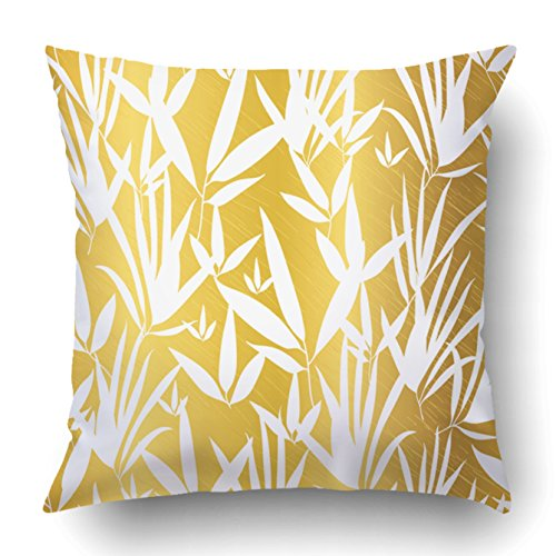 Emvency Decorative Throw Pillow Cover Case for Bedroom Couch Sofa Home Decor Vector Gold and White Bamboo Leaves Seamless Pattern Background Square 16x16 Inches Gold (Bamboo Coral Branch)