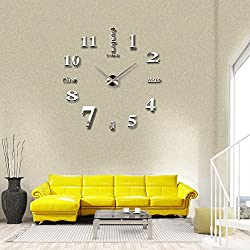 Modern Frameless DIY Wall Clock Large 3D Wall Watch Non Ticking for Living Room Bedroom Kitchen (Sliver-002)