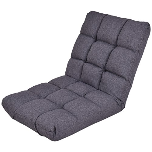 Giantex Adjustable Floor Gaming Sofa Chair 14-Position Cushioned Folding Lazy Recliner (Dark Grey)