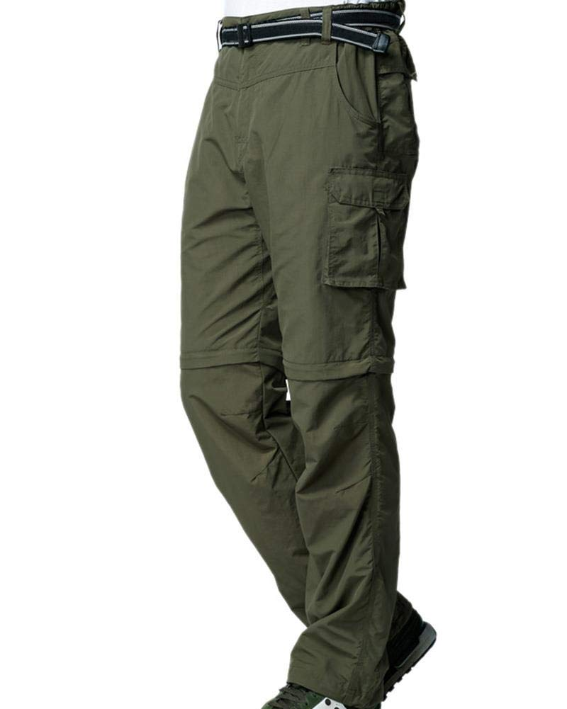 Kids Young Boy's Quick Drying Convertible Pants, Athletic Lightweight Outdoor Hiking Shorts, Travel Cargo Fishing Trousers,9016,Army Green XXS,4-5 Years by Toomett