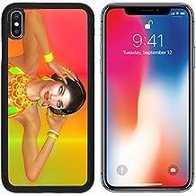 MSD Premium Apple iPhone X Aluminum Backplate Bumper Snap Case Girl with headphones on gradient Image ID 24865990