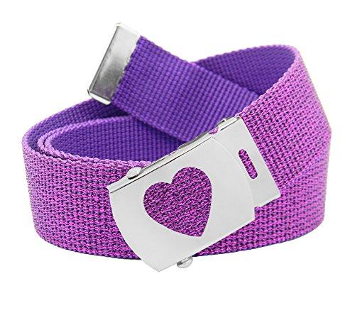 Girl's School Uniform Silver Slider Heart Belt Buckle with Canvas Web Belt Medium Glitter Purple