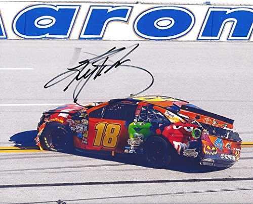 AUTOGRAPHED 2014 Kyle Busch #18 M&Ms Racing HALLOWEEN (Talladega Wreck) 8X10 Signed Picture NASCAR Glossy Photo with COA