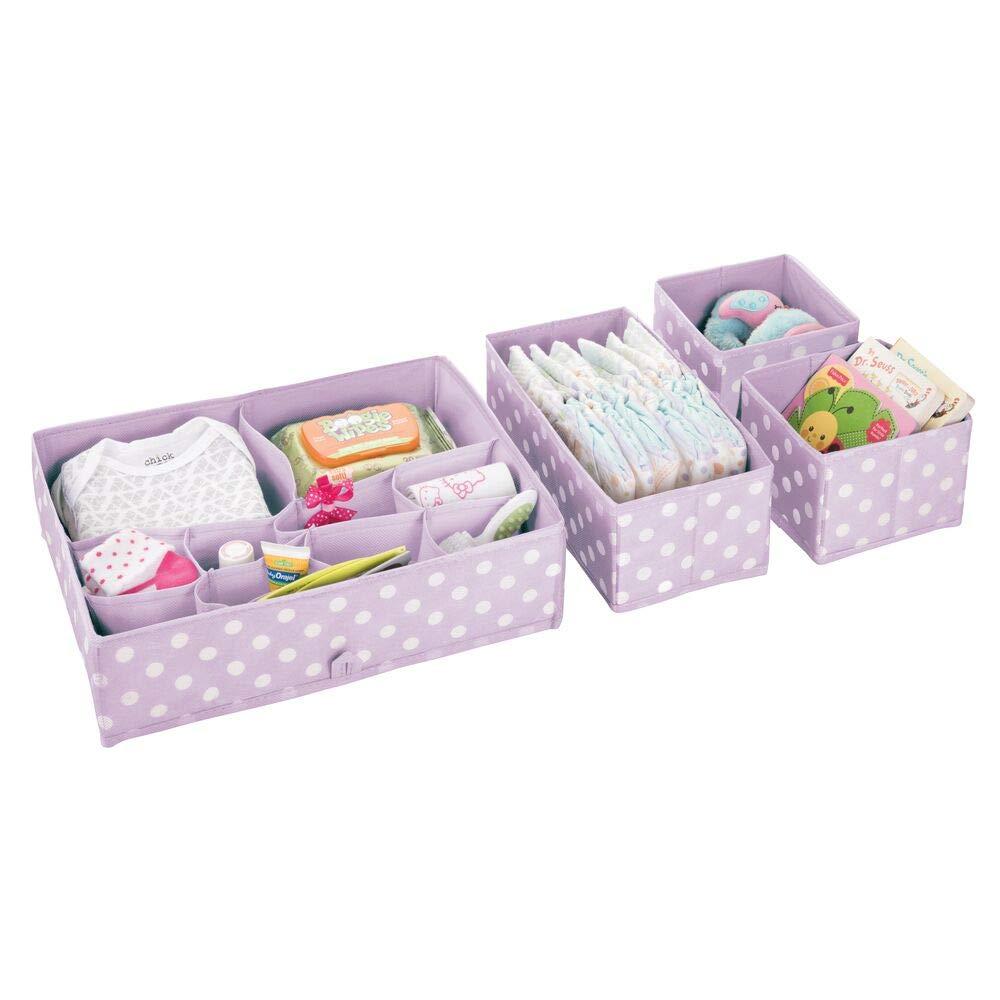 lila claro//blanco pa/ñales o juguetes Separadores de cajones para el cuarto de los ni/ños Organizadores de cajones con 14 compartimentos para ropa mDesign Juego de 4 organizadores para armarios