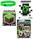 Minecraft Stickers & Creeper Rubber Bracelet Stocking Stuffer Gift Set of 10 Items