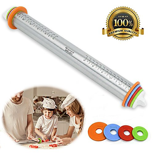 Adjustable Rolling Pin with Thickness Rings Guides - Non Stick - 17 inch Large Heavy Duty Stainless Steel French Style Dough Roller for Baking Pizza Pie Pastries and Cookies ()
