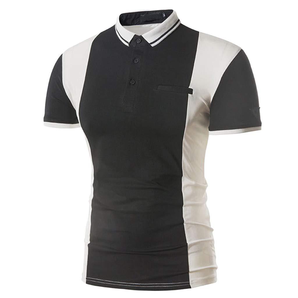 Fashion Mens Patchwork T Shirts Polo Shirt Ciyoon Mens Casual Button Short Sleeved T-Shirt