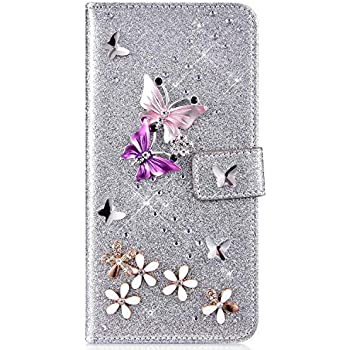 IKASEFU Galaxy Note 8 Case,Shiny butterfly Rhinestone Emboss Love Floral Pu Leather Diamond Bling Wallet Strap Case with Card Holder Magnetic Flip Cover Compatible with Samsung Galaxy Note 8,gold