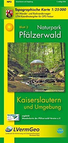 Naturpark Pfälzerwald /Kaiserslautern und Umgebung (WR): Naturparkkarte 1:25 000 mit Wander- und Radwanderwegen (Freizeitkarten Rheinland-Pfalz 1:15000 /1:25000) Gebundenes Buch – Folded Map, 1. August 2010 3896373994 Deutschland Karte (Landkarte) Atlas