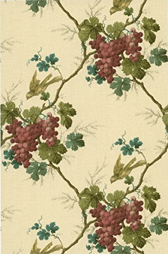 Warner CCP12067 Napa Valley Merlot Grape Toile Wallpaper, Purple