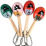 Mini Wooden Hand Painted Maracas Keychains 1 Dozen Keychains - Great Party Favors for Cinco De Mayo Celbrations, Parades, Fiestas and Birthday Parties