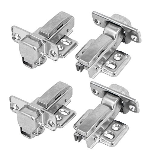 DealMux 304 Stainless Steel Concealed Self Close Cabinet Half Overlay Door Hinges 4pcs
