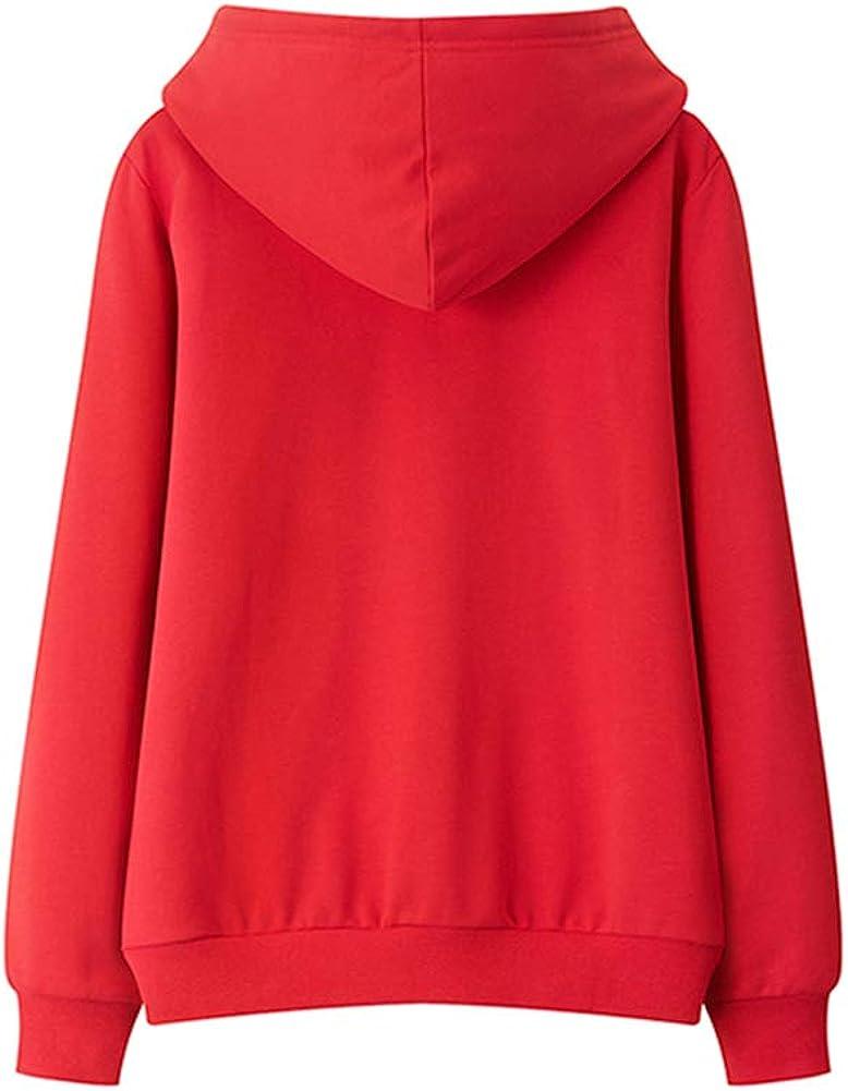 Felpa con Cappuccio a Maniche Lunghe da Donna, Pullover Casual Autunno Inverno Moda Giacca Felpa Tasca Taglie Standard M-XXL Red
