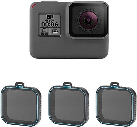 TELESIN - Juego de filtros de densidad neutra ND, ND4 ND8 ND16, Paquete filtro lentes 3 unidades, para GoPro Hero 2018, Hero 5, Hero 6 (ND4/8/16).: Amazon.es: Electrónica