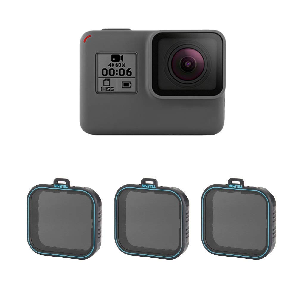 Neutral Density ND Filters Set with ND4 ND8 ND16 Lens Filters for GoPro Hero 2018/5/ 6 - Pack of 3 by TELESIN