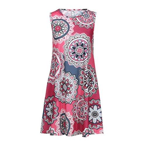 Pockets Loose T Red Tank Dress Sleeveless Damask Summer Shirt Boho Dress Print Women's with BSGSH Casual xz6vnn
