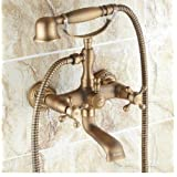 Rozinsanitary Antique Brass Wall Mounted Clawfoot Shower/ Tub Mixer Faucet + Hand Shower Set