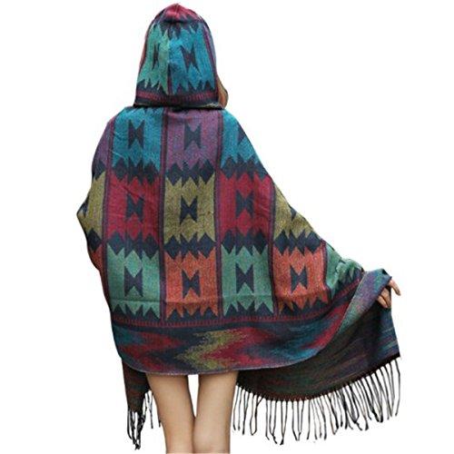 Tailloday Damen Strick Poncho Cape Umhang Loose Fit Hooded Kapuzen Blanket Outwear Mantel Schal mit Fransen Blau gO9LLIK0Eq