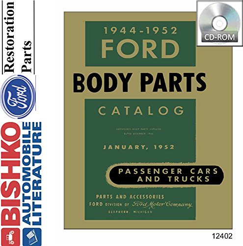 1944 1946 1948 1950 1952 Ford Car Truck Body Parts Numbers Book List CD