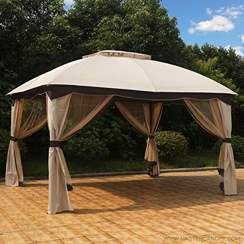 MASTERCANOPY Patio 10X12 Bermuda Gazebo Canopy Soft Top with Mosquito Netting, GH13N01