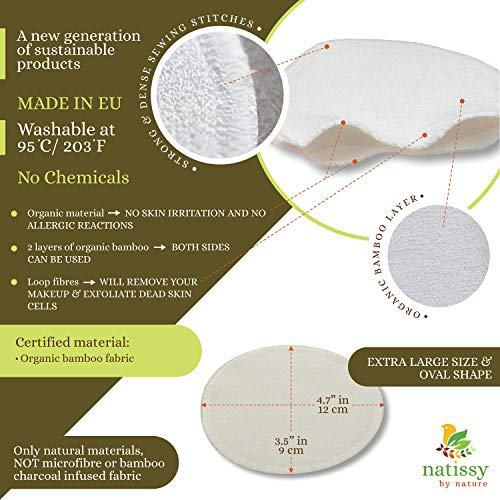 Washable Make up Remover Pads Bamboo, 12-Pack of Reusable Facial Rounds MADE IN EU; Eco Friendly Face Cleansing Cosmetic Cloth Pad; Soft Skin Care Wipes for all Skin Types; EXTRA Laundry&Storage bags