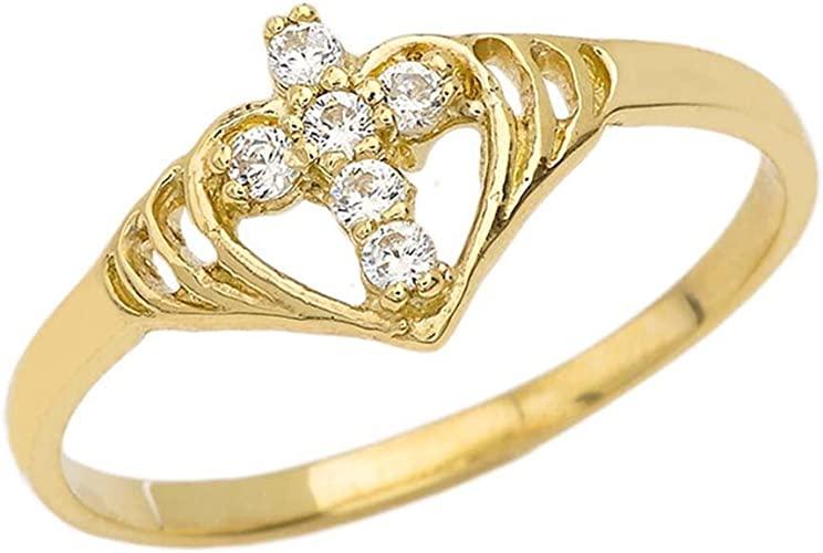10k or 14k Yellow Gold Ladies Heart with Jesus Name Filigree Ring